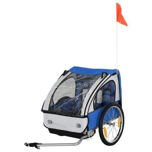 HOMCOM Fahrradkinderanhänger »Fahrradanhänger für 2 Kinder«