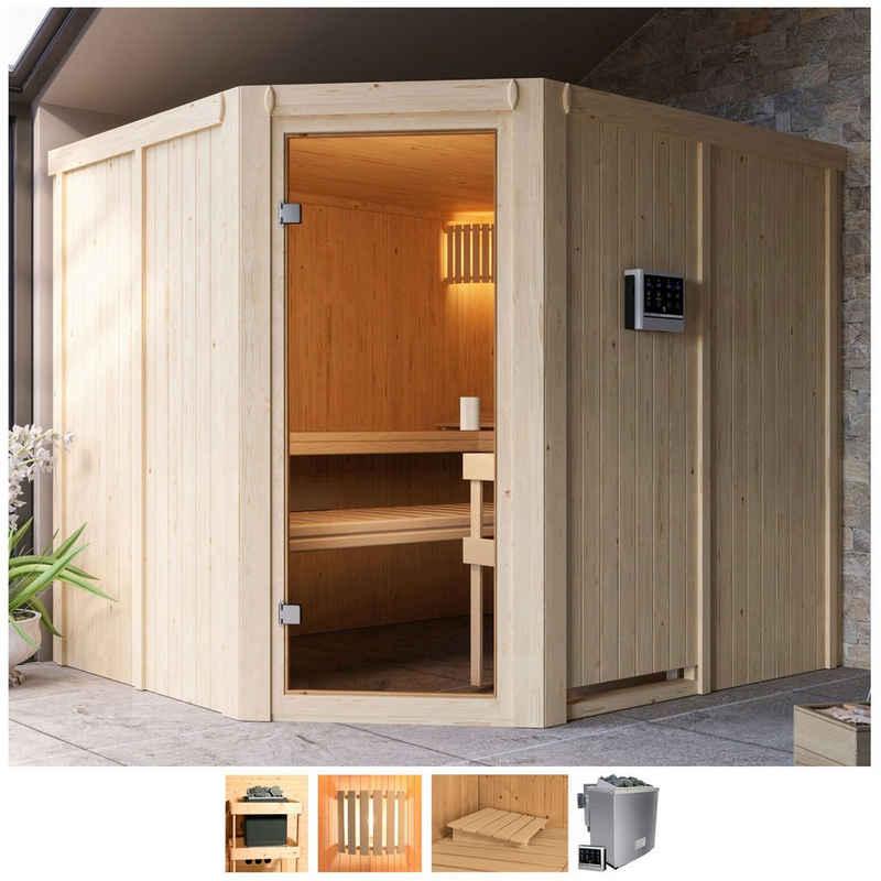 Karibu Sauna »Henrika«, BxTxH: 231 x 196 x 198 cm, 68 mm, 9-kW-Bio-Ofen mit ext. Steuerung