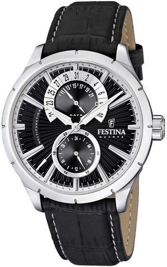 Festina Multifunktionsuhr »UF16573/X Festina Herren Uhr Elegant F16573/X«, (Analog-Multifunktionsuhr), Herren Armbanduhr rund, Lederarmband schwarz
