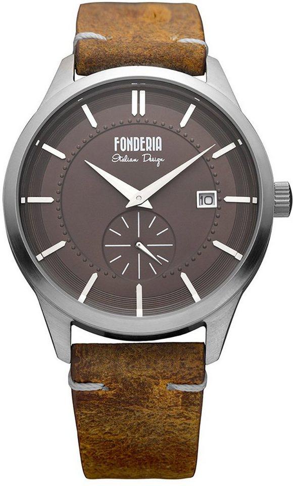 fonderia -  Chronograph »UAP6A009UR1  Herren Uhr P-6A009UR1 Leder«, (Analoguhr), Herren Armbanduhr rund, groß (ca. 41mm), Lederarmband braun