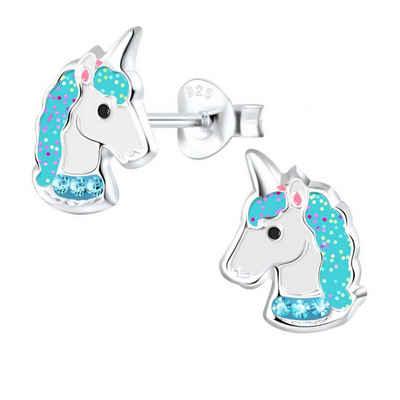 schmuck23 Paar Ohrstecker »Kinder Ohrringe Einhorn Pferd 925 Silber«, Kinderschmuck Mädchen Geschenk