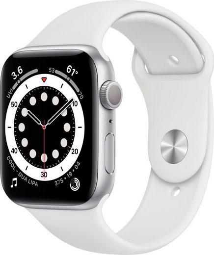 Apple Series 6 GPS, Aluminiumgehäuse mit Sportarmband 44mm Watch (Watch OS 6), inkl. Ladestation (magnetisches Ladekabel)