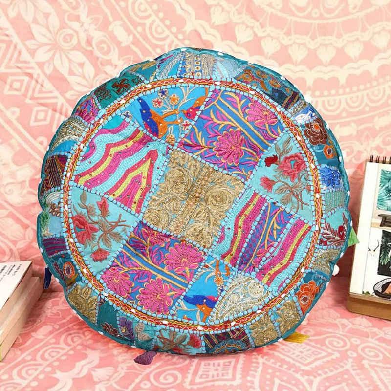Casa Moro Bodenkissen »XL Patchwork Yogakissen Lali Mittel Ø 55cm x Höhe 10cm rund mit Füllung, Indisches Sitzkissen orientalisches Chillkissen im Boho Style«, mit Mandala