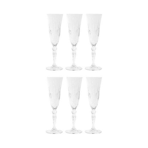 BUTLERS Sektglas »CRYSTAL CLUB 6x Champagnerglas 160ml«, Kristallglas