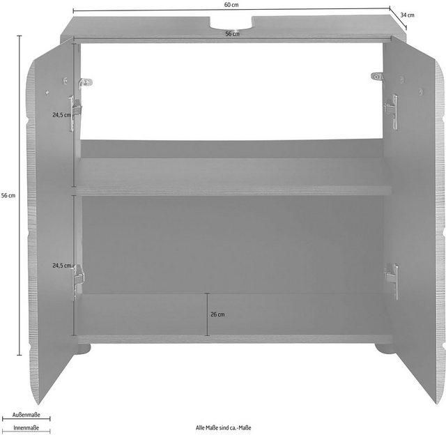 Badschränke - trendteam Waschbeckenunterschrank »Skin« Höhe 56 cm, Badezimmerschrank mit Fronten in Hochglanz oder Holzoptik, mit Siphonausschnitt  - Onlineshop OTTO