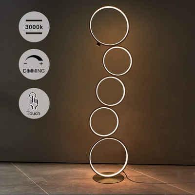 ZMH Stehlampe »LED Dimmbar Standleuchte 32W Touch Switch Stehleuchte 3000K Deckenfluter 5-flammig Ringförmige Standlampe für Schlafzimmer Wohnzimmer«