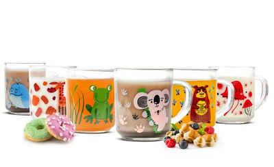 Sendez Kinderbecher »6 Tier-Motiv Becher Tassen 230ml Teegläser Kindergläser Trinkgläser Saftgläser«