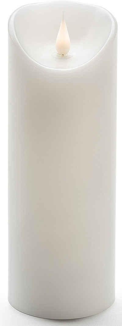 KONSTSMIDE LED-Kerze (1-tlg), LED Echtwachskerze, weiß, mit 3D Flamme, Ø 7,5 cm, Höhe: 20,5 cm
