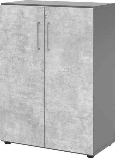 bümö Aktenschrank »OM-938T3« Büroschrank, Flügeltürenschrank für Ordner, Akten & Bücher mit 3 Ordnerhöhen - Dekor: Graphit/Beton
