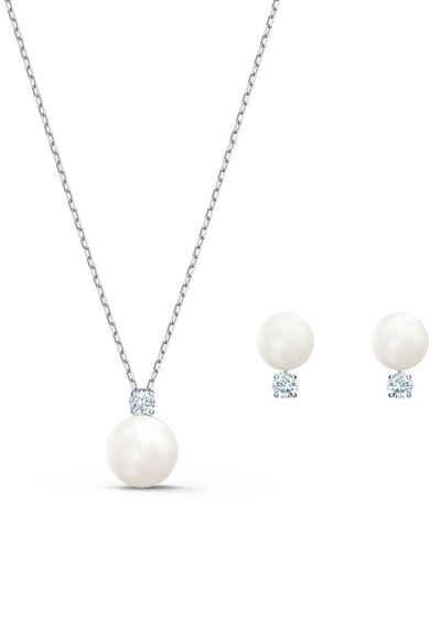 Swarovski Ohrring und Ketten Set »Treasure Pearl, weiss, rhodiniert, 5569758« (Set, 3 tlg), mit Swarovski® Kristallen und Swarovski® Perlen