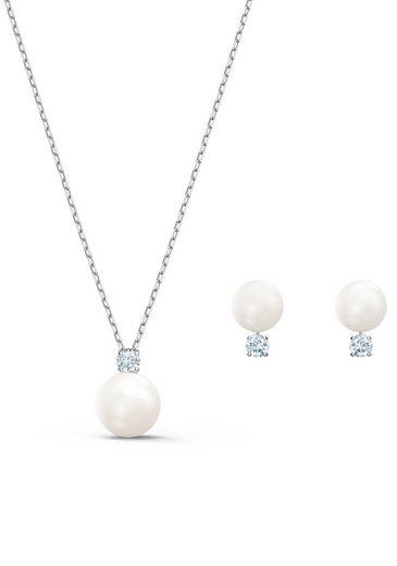 Swarovski Ohrring und Ketten Set »Treasure Pearl, weiss, rhodiniert, 5569758« (Set, 3-tlg), mit Swarovski® Kristallen und Swarovski® Perlen