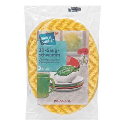 flink & sauber Spültuch, (3-tlg), 3D-Saugschwamm