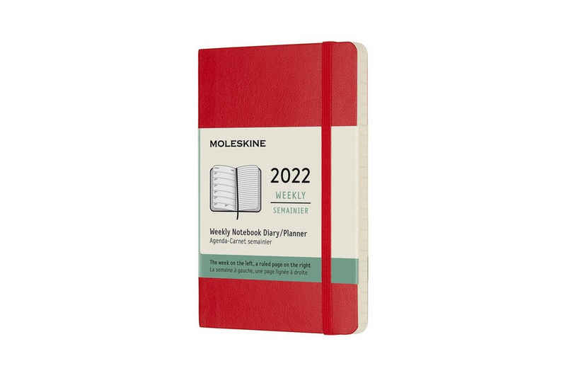 MOLESKINE Buchkalender, 12 Monate Wochen-Notizkalender 2022 - Weicher Einband - Englischer Kalender - 1 Wo = 1 Seite - rechts linierte Seite