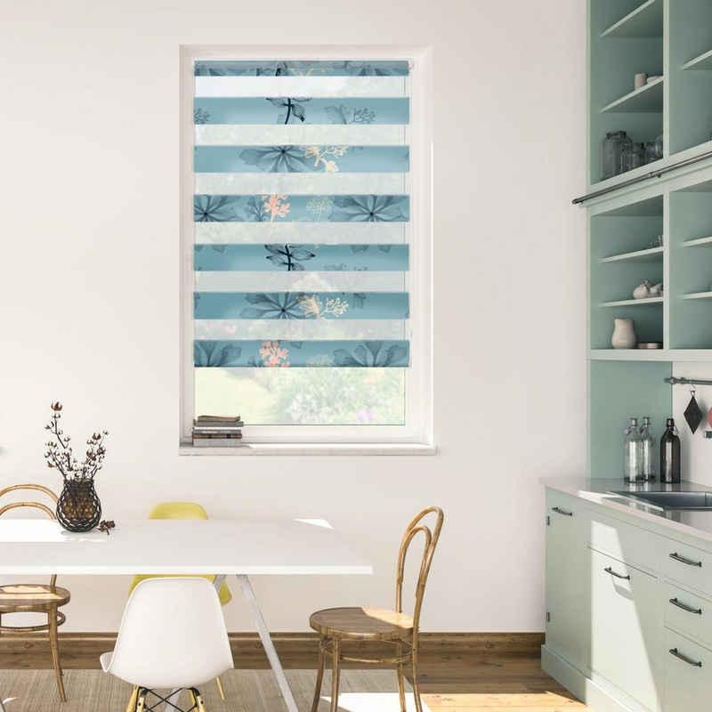 Doppelrollo »Duo Rollo Klemmfix, ohne Bohren, blickdicht, Aqua Floral - Blau«, LICHTBLICK ORIGINAL, halbtransparent, freihängend