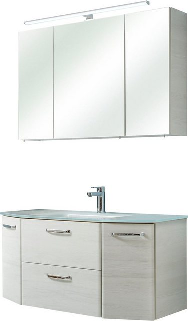 Badezimmer Sets - PELIPAL Badmöbel Set »Amora«, (Set, 2 St), Spiegelschrank inkl. LED Beleuchtung, Waschtisch Kombination mit Glasbecken, Metallgriffe, Türdämpfer  - Onlineshop OTTO