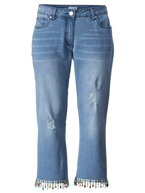 Hosen - Angel of Style by HAPPYsize 7 8 Jeans mit bunten Perlen am Saum ›  - Onlineshop OTTO