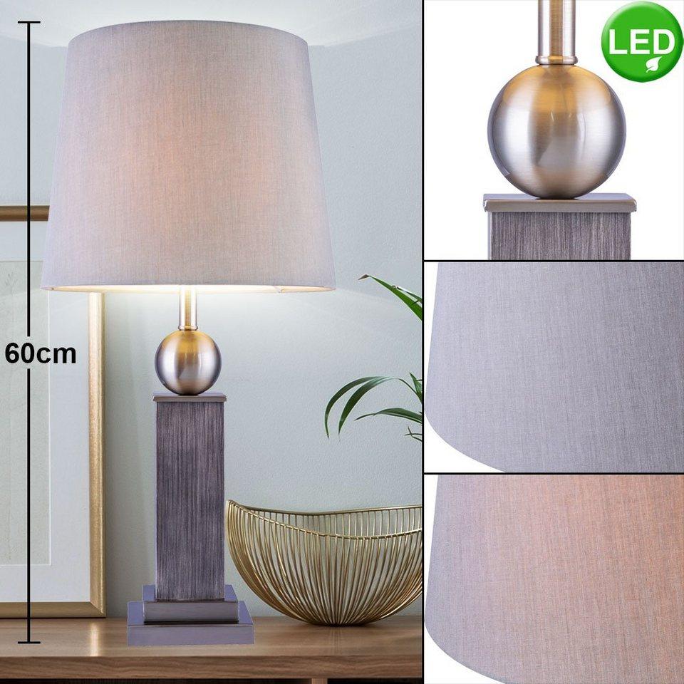 etc shop Tischleuchte, Design Holz Tisch Lampe grau Wohn Schlaf Zimmer  Textil Lese Leuchte im Set inkl. LED Leuchtmittel online kaufen   OTTO