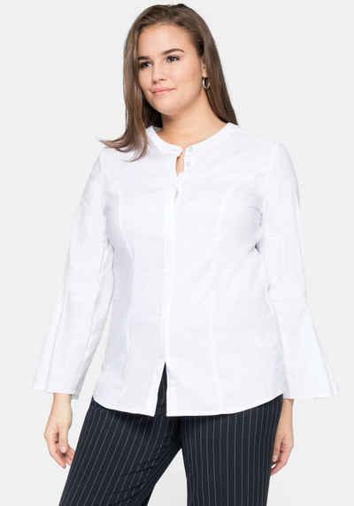NEU 40-50 Kurzarm schwarz mit Pailletten Sheego Chiffon Bluse Shirt Gr 993