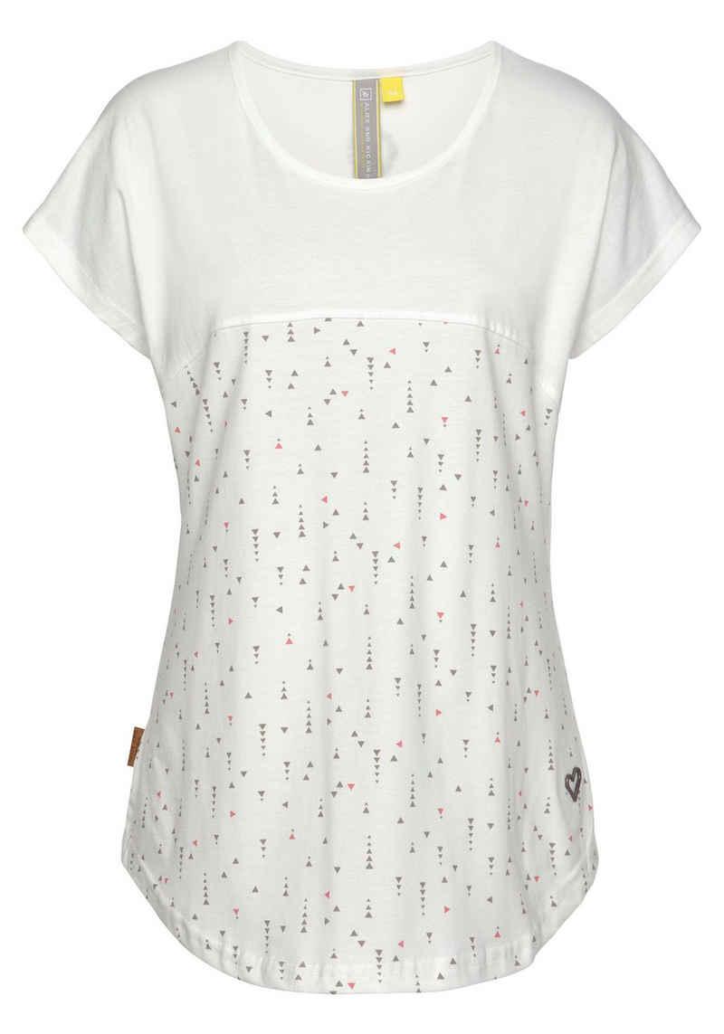 Alife & Kickin T-Shirt »ClaraAK« im Two-in-one-Look mit Allover- Miniprint