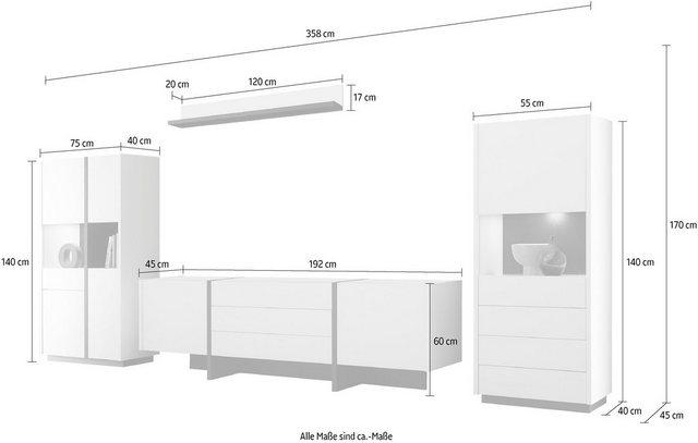 Wohnwände - INOSIGN Wohnwand »CAiO«, (Set, 4 St), Breite ca. 358 cm  - Onlineshop OTTO