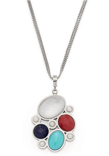 LEONARDO Kette mit Anhänger »Como, 017922«, mit imit. Perlen, synth. Türkis und Glassteinen