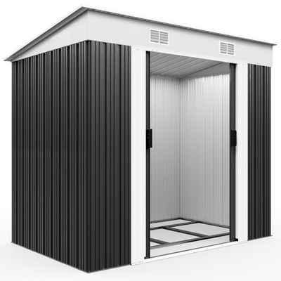 Gardebruk Gerätehaus, L Metall 2m² mit Fundament 196x122x182cm Schiebetür Anthrazit Geräteschuppen Gartenhaus 3,4m³