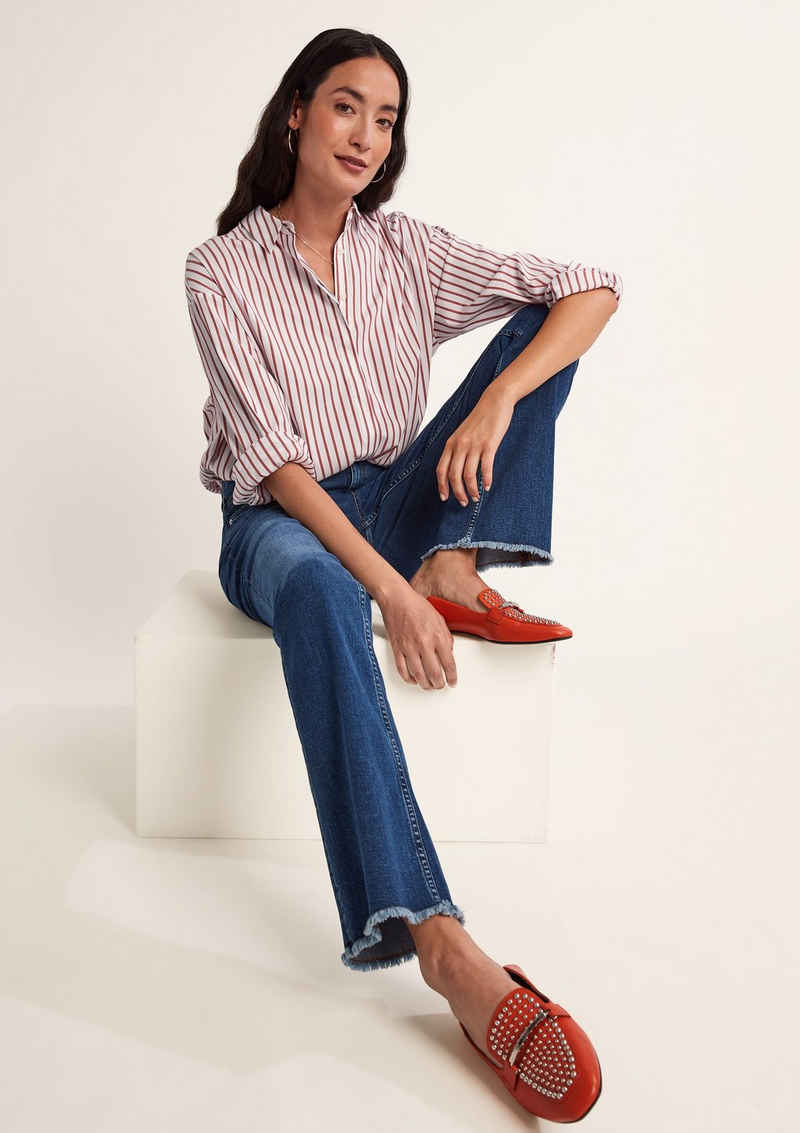 Comma 5-Pocket-Jeans »Skinny: Flared leg-Jeans« Waschung, Fransen