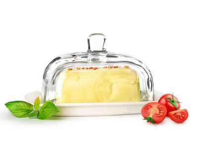 Sendez Butterdose »auf Porzellanteller Butterglocke Butterschale Kühlschrankbutterdose«