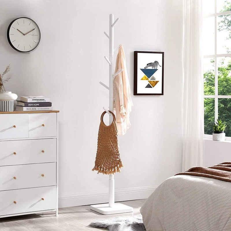 VASAGLE Garderobenständer »RCR010W02«, Kleiderständer, Massivholz, freistehend, Baumform, 8 Haken für Jacken, weiß