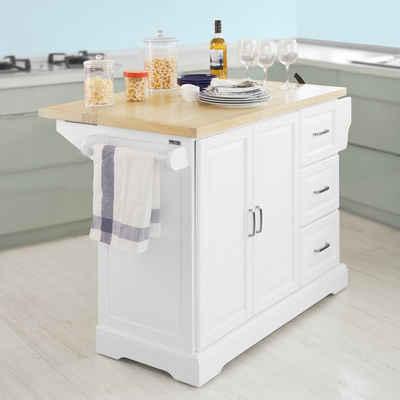 SoBuy Küchenwagen »FKW41«, Kücheninsel mit erweiterbarer Arbeitsfläche