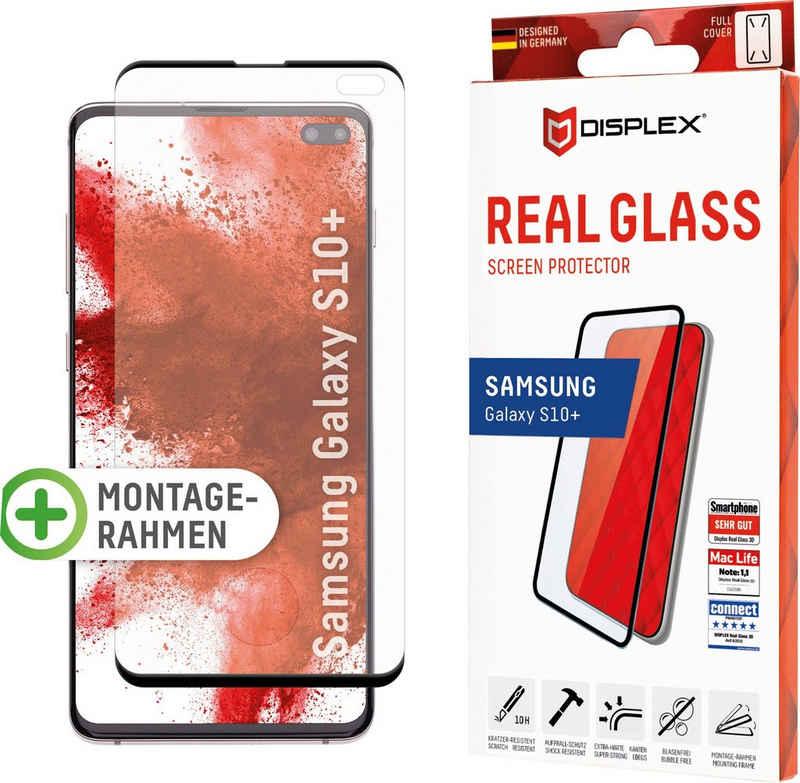 Displex »DISPLEX Real Glass Panzerglas für Samsung Galaxy S10+ (6,4), 10H Tempered Glass, mit Montagerahmen, Full Cover« für Samsung Galaxy S10+, Displayschutzglas