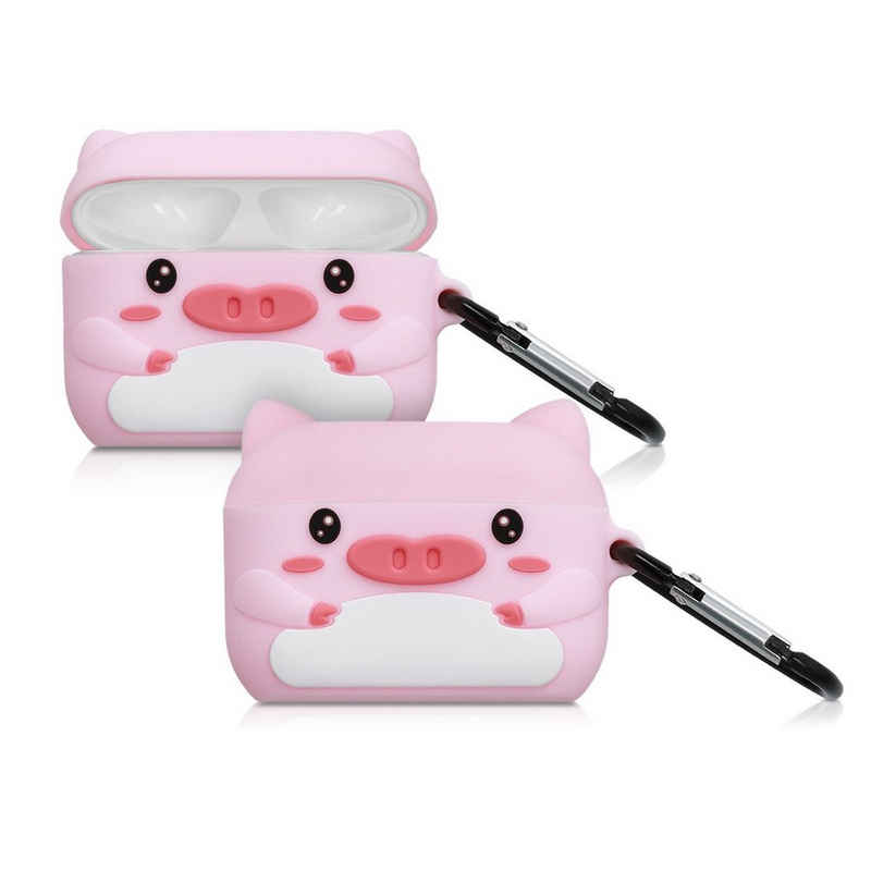 kwmobile Kopfhörer-Schutzhülle, Hülle für Apple AirPods Pro Kopfhörer - Silikon Schutzhülle Etui Case Cover Schoner Schweinchen Design
