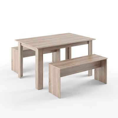 Vicco Essgruppe »Tischgruppe Sitzgruppe Holztisch Esstisch Holz Tisch Sonoma«