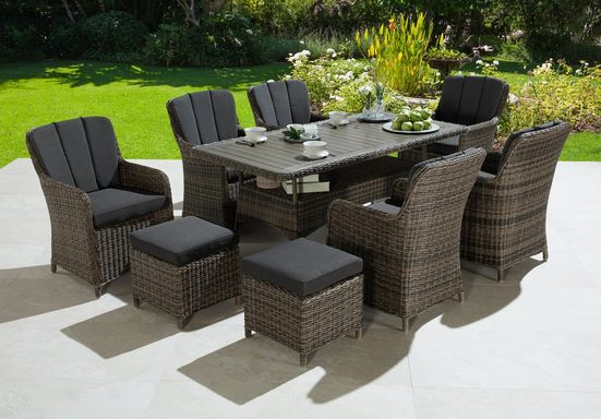KONIFERA Gartenmöbelset »Kenya«, 23-tlg., 6 Sessel, 2 Hocker, Tisch, Polyrattan/Akazie