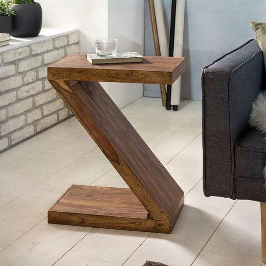 """Wohnling Beistelltisch »WL1.303«, MUMBAI Massivholz Sheesham """"Z"""" Cube 59cm hoch Wohnzimmer-Tisch Design braun Landhaus-Stil Couchtisch"""