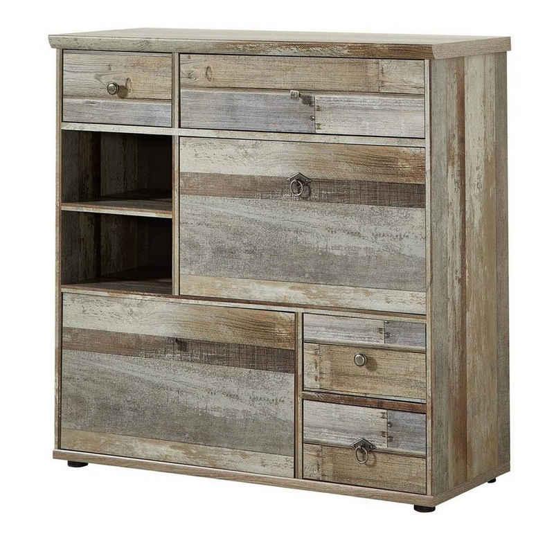 Lomadox Garderobenschrank »BRANSON-36« Schuhschrank Vintage Driftwood Braun BxHxT ca. 99x98x40cm