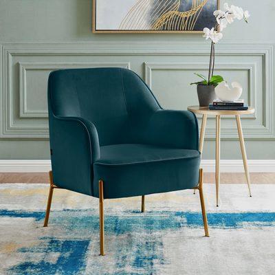 Sessel »Runa«, mit einem schönen pflegeleichten Samtvelours Bezug, in vier unterschiedlichen Farbvarianten, Sitzhöhe 44 cm