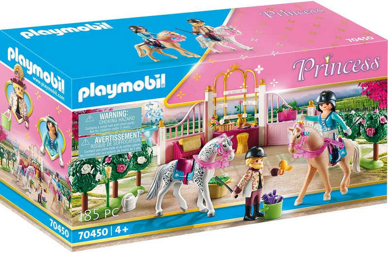 Playmobil® Konstruktions-Spielset »Reitunterricht im Pferdestall (70450), Princess«, (185 St), Made in Germany