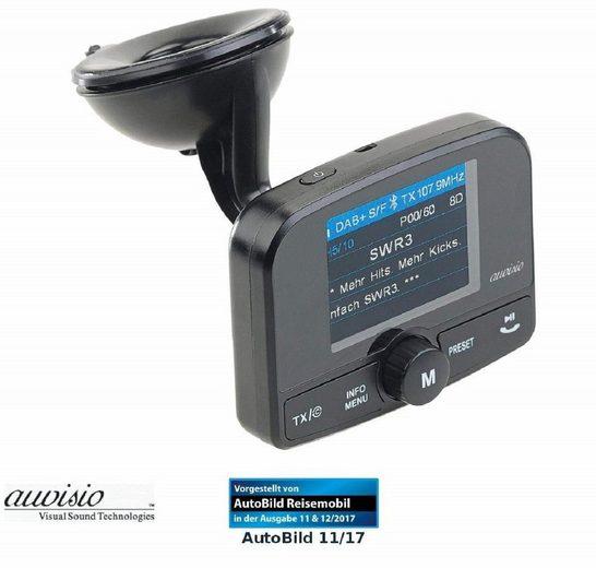 auvisio »FMX-640.dab Kfz-DAB+ Empfänger, FM-Transmitter, Bluetooth, Freisprechfunktion« KFZ-Transmitter Micro-USB, 3,5-mm-Klinke, Micro-SD zu Micro-USB, Wiedergabe Ihrer MP3- Dateien von microSD-Speicherkarte, Audio-Übertragung erfolgt kabellos per UKW-Signal, Freisprechfunktion dank integriertem Mikrofon