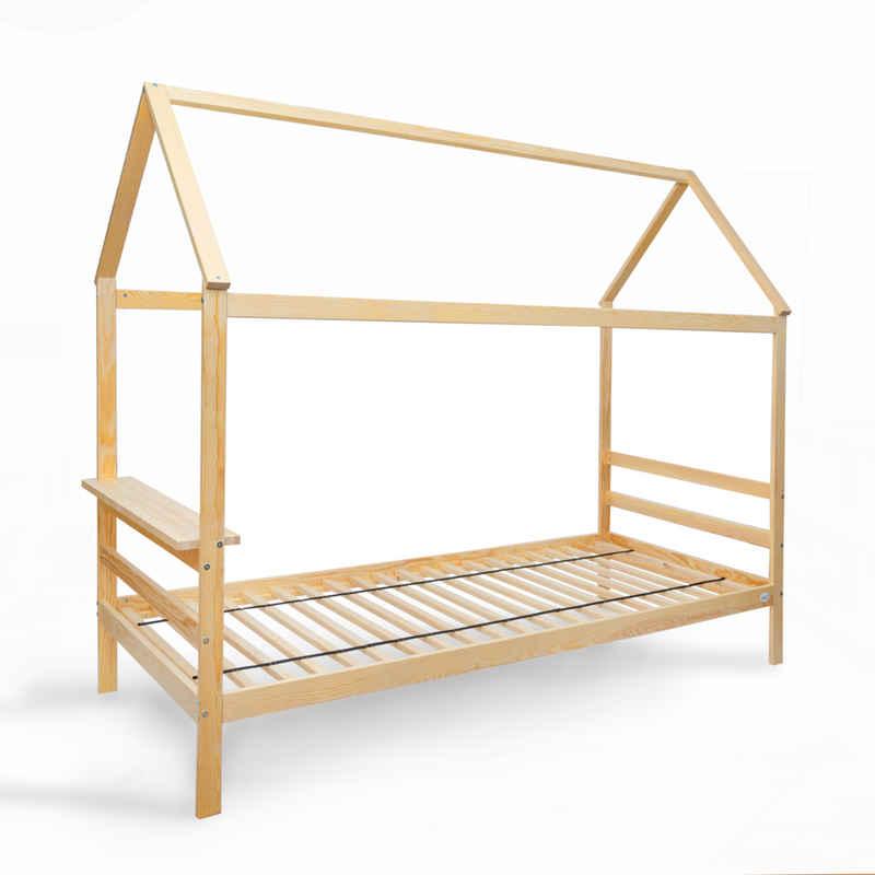 Alcube Hausbett »ELIA 80x160 I 90x200«, aus Natur Holz Kinderbett mit seitlichen Rausfallschutz und Ablage