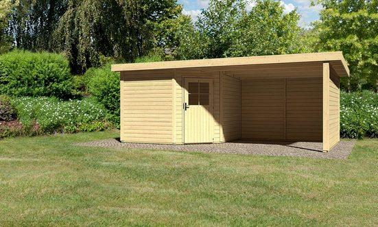 KARIBU Set: Gartenhaus »Neuruppin 3«, BxT: 612x303 cm, inkl. Anbaudach mit Seiten- und Rückwand