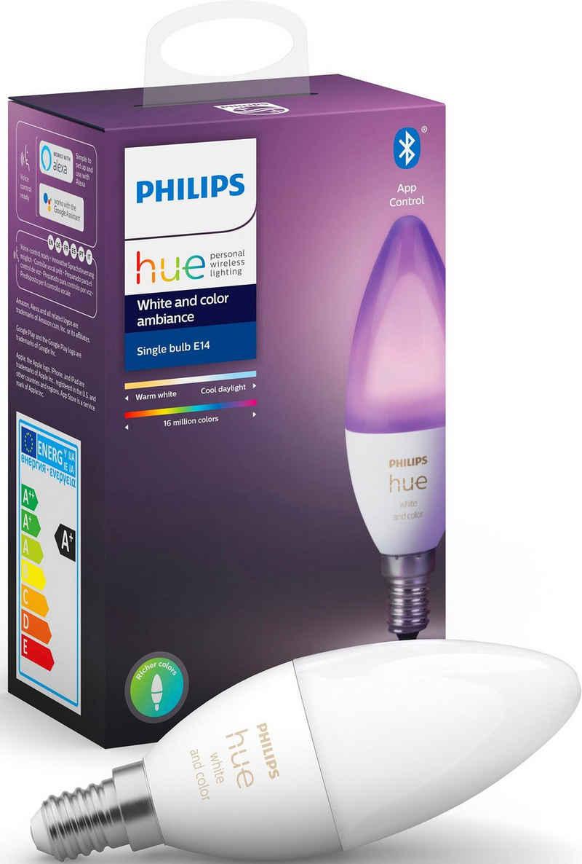 Philips Hue »White & Color Ambiance E14 LED-Lampe« LED-Leuchtmittel, E14, Farbwechsler, Neutralweiß, Tageslichtweiß, Warmweiß, Extra-Warmweiß, Smarte E14 LED-Lampe in Kerzenform, Lichtsteuerung per Bluetooth oder Hue Bridge, Auswahl aus 16 Mio. Farben, Stufenloses Dimmen