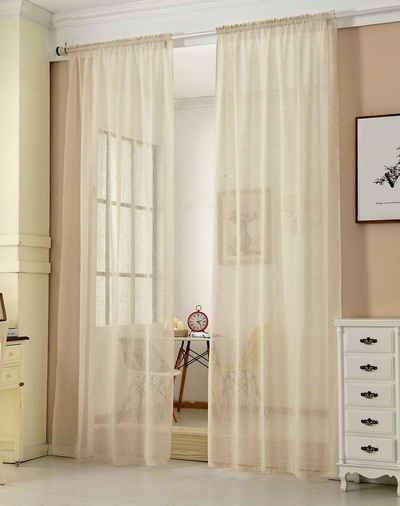 Gardine, Woltu, Vorhang mit Kräuselband,transparent(1 Stück)