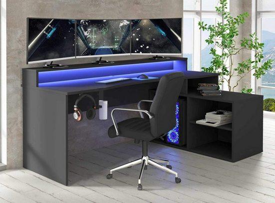 FORTE Gamingtisch »TEZAUR 4B Gaming Desk Computertisch mit LED-Beleuchtung, von Forte«