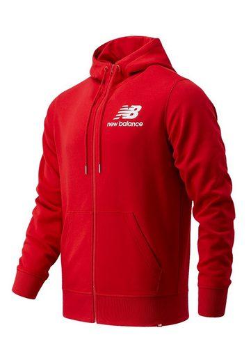 New Balance Sweatshirt »New Balance Herren Zipper ESSENTIALS STACKED FULL ZIP HOOD MJ03558 REP Rot«
