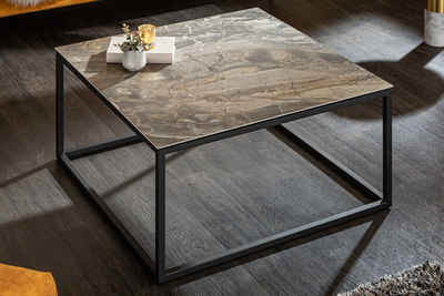 riess-ambiente Couchtisch »SYMBIOSE 75cm taupe-grau / schwarz«, Wohnzimmertisch · Keramik · in Marmor-Optik · Metall-Gestell · Industrial