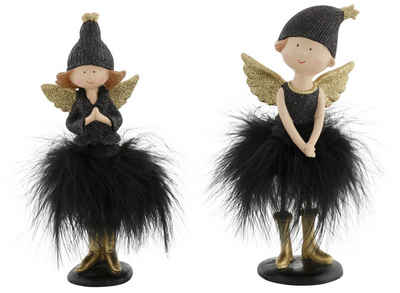 Engelfigur (Set, 2 Stück), mit Mütze und Kunstfederrock, beglimmert, 19 cm und 21 cm