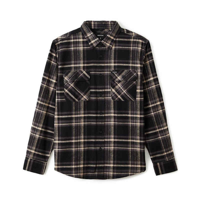 Brixton Langarmhemd »Bowery Stretch L/S Crossover Flannel - black/charc«
