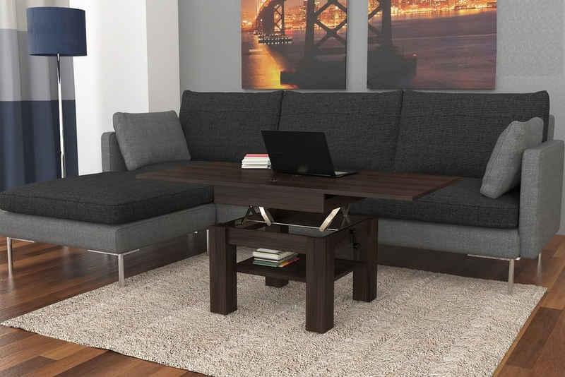 Mazzoni Couchtisch »Design Couchtisch Tisch Cleo Walnuss Wenge stufenlos höhenverstellbar 57 - 69cm aufklappbar 75 / 150cm Esstisch«