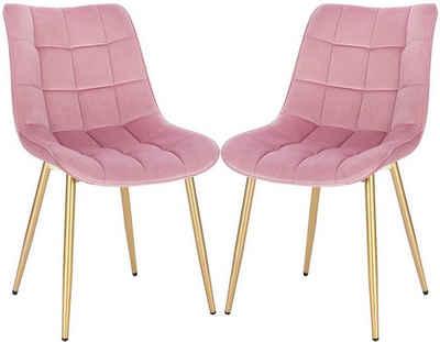 Woltu Esszimmerstuhl »Z-BAS292« (2er-Set), Küchenstuhl Polsterstuhl Wohnzimmerstuhl Sessel, Sitzfläche aus Samt, Metall Gold Beine